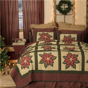 National Quilt Museum Poinsettia Block Twin Quilt 68Wx86L