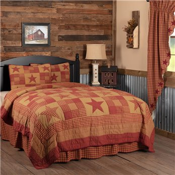 Ninepatch Star King Quilt Set; 1-Quilt 105Wx95L w/2 Shams 21x37