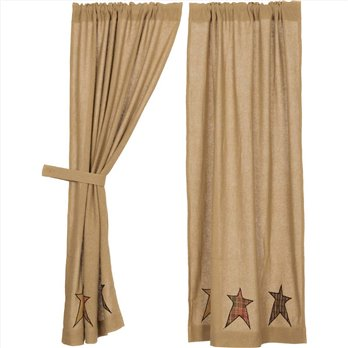 Stratton Burlap Applique Star Short Panel Set of 2 63x36