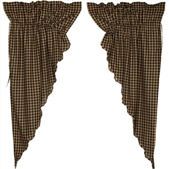 Black Check Scalloped Prairie Short Panel Set of 2 63x36x18