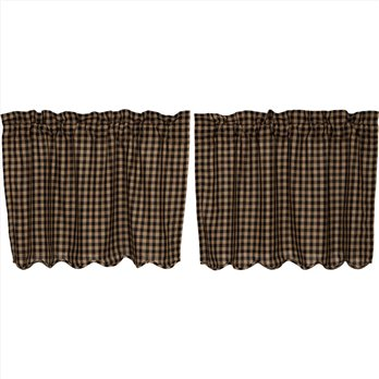 Black Check Scalloped Tier Set of 2 L24xW36