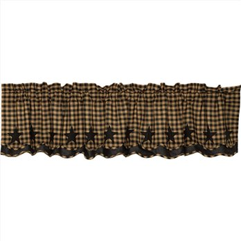 Black Star Scalloped Layered Valance 16x72