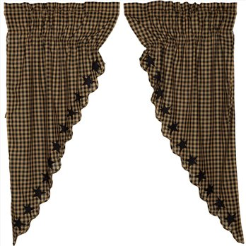 Black Star Scalloped Prairie Short Panel Set of 2 63x36x18