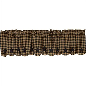 Black Star Scalloped Valance 16x72