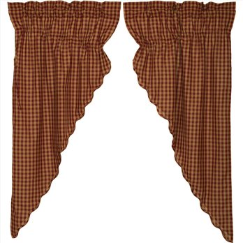 Burgundy Check Scalloped Prairie Short Panel Set of 2 63x36x18