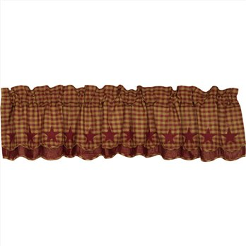 Burgundy Star Scalloped Layered Valance 16x72