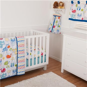 Ink Sketch Crib Set (Includes: Crib Quilt, Crib Sheet, Dust Ruffle, Bumper, Valance)