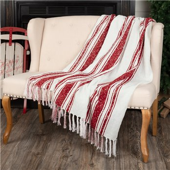 Antique Red Stripe Woven Throw 60x50