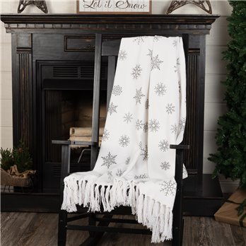 Grey Snowflake Woven Throw 60x50