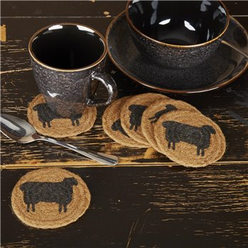 Heritage Farms Sheep Jute Coaster Set of 6