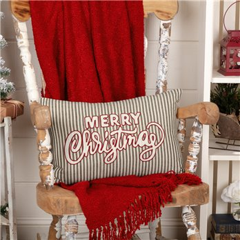Merry Christmas Stripe Pillow 14x22