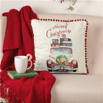 Merry Christmas Truck Pillow 18x18
