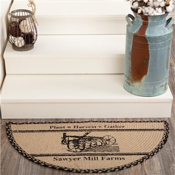 Sawyer Mill Charcoal Plow Jute Half Circle Rug 16.5x33