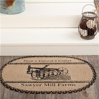 Sawyer Mill Charcoal Plow Jute Rug Oval 20x30