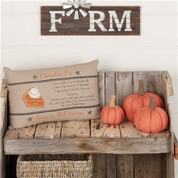 Sawyer Mill Charcoal Pumpkin Pie Recipe Pillow 14x22