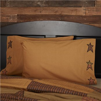 Stratton Standard Pillow Case w/Applique Star Set of 2 21x30
