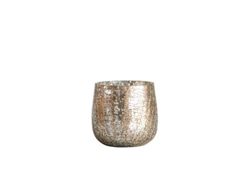 Mercury Glass Votive Holder with Gold Crackle Finish
