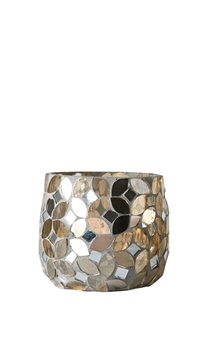 Mosaic Tealight Holder with Gold Finish