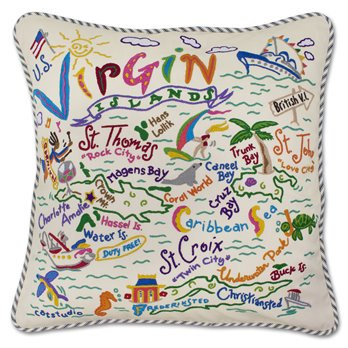 U. S. Virgin Islands Hand Embroidered Pillow by Catstudio
