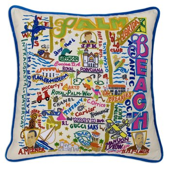 Palm Beach Hand Embroidered Pillow by Catstudio