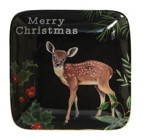 Merry Fawn Small Stoneware Dish