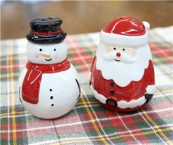Jolly Santa and Snowman Salt & Pepper Set