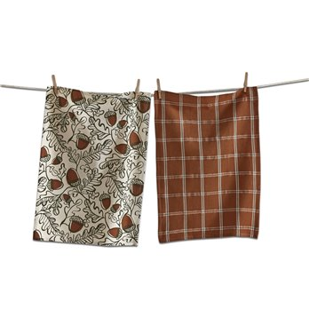 Harvest Acorn and Plaid Dishtowel Set of 2
