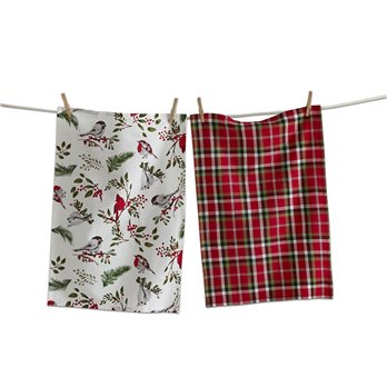 Winter Birds and Berries Dishtowel Set of 2