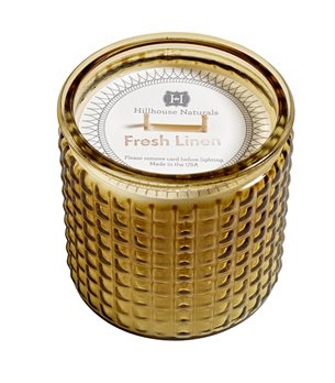Fresh Linen Large Candle Glass 15 oz by Hillhouse Naturals