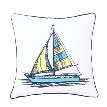 Embroidered Sail Boat Pillow
