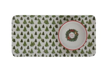 Evergreen Tree Ceramic Platter with Merry Christmas Bowl Set of 2
