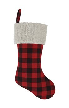 Buffalo Check Stocking - Red and Black