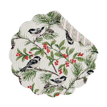 Chickadee Round Quilted Placemat
