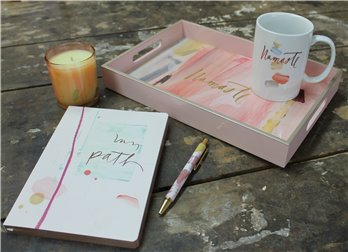 Mug, Candle, Tray, Pen and Journal Namaste Gift Set