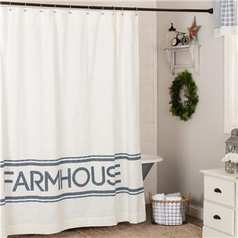 Sawyer Mill Blue Farmhouse Shower Curtain 72x72