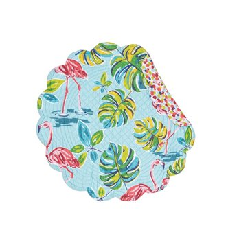 Flamingo Garden Round Quilted Placemat