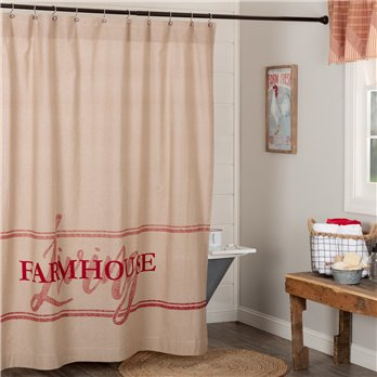 Sawyer Mill Red Farmhouse Living Shower Curtain 72x72