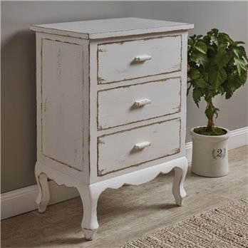 Distressed White 3 Drawer Chest Cupboard