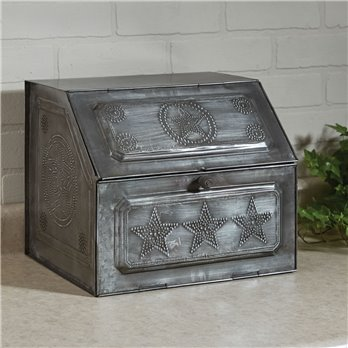 Galvanized Metal Pierced Star Bread Box