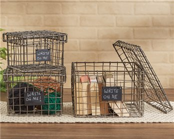 Wire Storage Boxes with Chalkboard Tags - Set of 3 Assorted Sizes