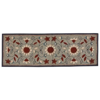 "Gray Floral Hooked Rug Runner 24"" x 72"""