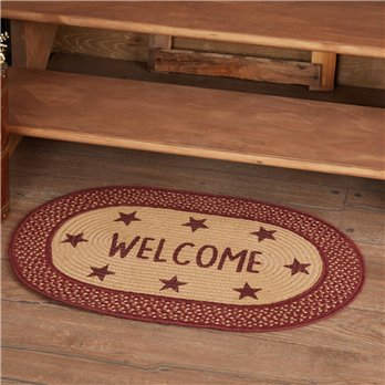 Burgundy Red Primitive Jute Rug Oval Stencil Stars Welcome 20x30