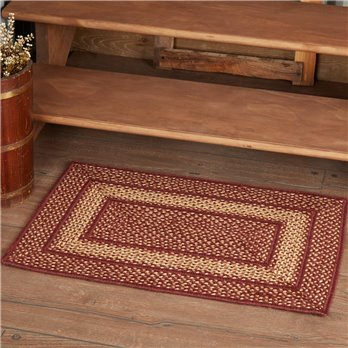 Burgundy Red Primitive Jute Rug Rect 20x30