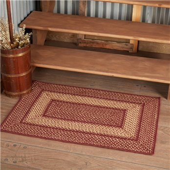Burgundy Red Primitive Jute Rug Rect 24x36