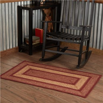 Burgundy Red Primitive Jute Rug Rect 27x48