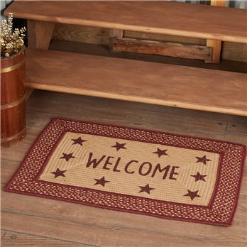 Burgundy Red Primitive Jute Rug Rect Stencil Stars Welcome 20x30