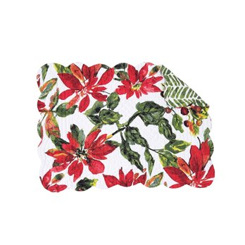 Poinsettia Berries Rectangular Quilted Placemat