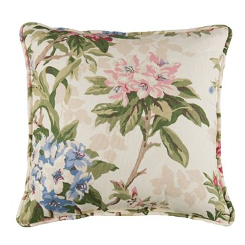"Hillhouse Square Pillow - Floral 17"" Piped"