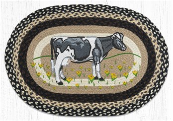"Cow In Field Oval Braided Rug 20""x30"""