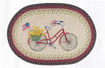 "Bicycle with Flag Oval Braided Rug 20""x30"""